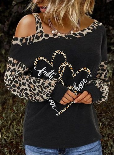 Women's Sweatshirts Color Block Long Sleeve Asymmetrical Cold Shoulder Heart-shaped Leopard Sweatshirt