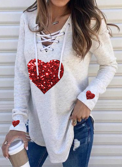 Women's Pullovers Heart-shaped Sequin Drawstring Long Sleeve V Neck Casual Pullover