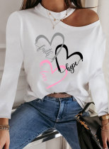 Women's Pullovers Heart-shaped Letter Long Sleeve Round Neck Daily Casual Cold-shoulder Pullover