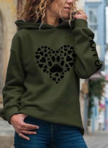 Animal Print Neckline Hooded Sweatshirts