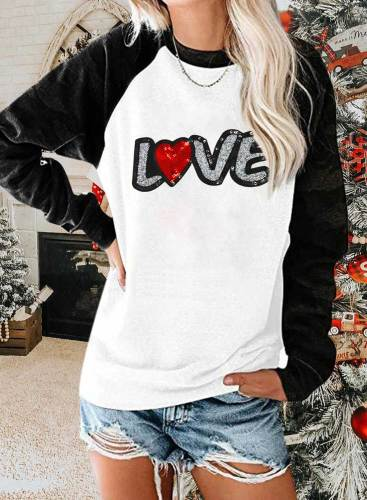 Women's Pullovers Casual Letter Color Block Long Sleeve Round Neck Daily Pullovers