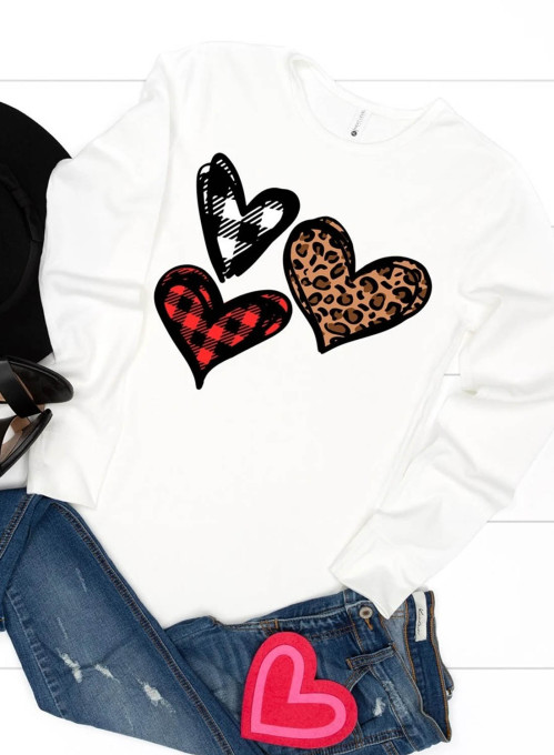 Women's T-shirts Leopard Plaid Heart-shaped Round Neck Long Sleeve Casual T-shirts