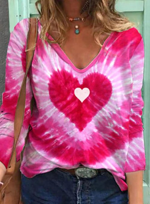 Women's Pullovers Tiedye Heart-shaped Long Sleeve V Neck Daily Pullover