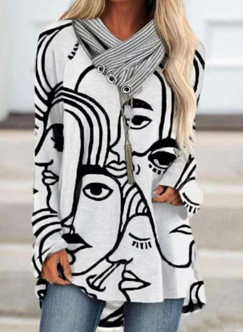 Women's Tunics Abstract Portrait Long Sleeve Button Turtleneck Daily Tunic
