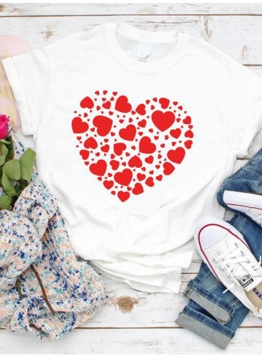 Women's T-shirts Solid Heart-shaped Print Short Sleeve Round Neck Casual T-shirt