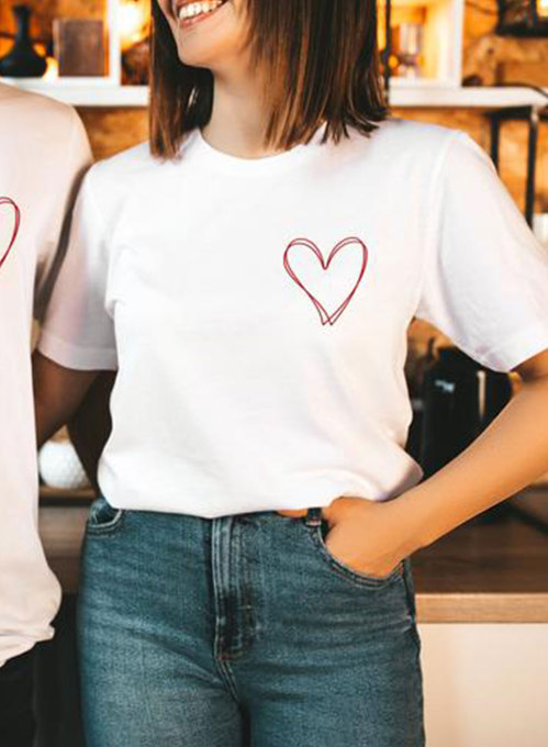 Couple's T-shirts Solid Heart-shaped Round Neck Short Sleeve Men's And Women's T-shirts