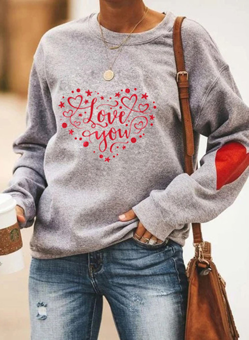 Women's Pullovers Casual Heart-shaped Solid Round Neck Long Sleeve Daily Pullovers