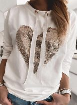 Women's Pullovers Casual Drawstring Sequin Solid Heart-shaped Long Sleeve Round Neck Daily Pullovers