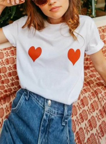Women's T-shirts Heart-shaped Print Short Sleeve Round Neck Daily T-shirt
