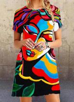 Women's Mini Dresses Color Block Abstract Portrait Short Sleeve Round Neck Daily Mini Dress