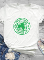 Women's T-shirts Saint Patrick's Day Letter Print Short Sleeve Round Neck Daily T-shirt