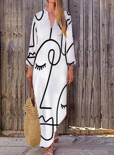 Women's Maxi Dresses Abstract 3/4 Sleeve Fit&Flare V Neck Casual Maxi Dress