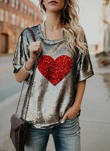 Women's T-shirts Heart-shaped Print Sequin Short Sleeve Round Neck Daily Festival Party T-shirt