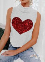 Women's Tank Tops Casual High Neck Sleeveless Heart-shaped Daily Tops