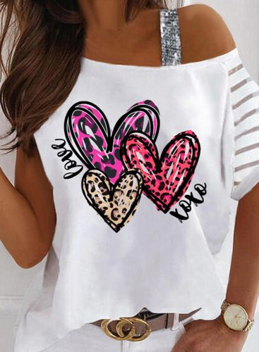 Women's T-shirts Heart-shaped Sequin Cold Shoulder Color Block Asymmetrical Neck Short Sleeve Daily T-shirts