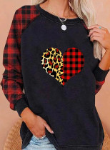 Women's Sweatshirts Round Neck Long Sleeve Solid Plaid Leopard Casual Daily Sweatshirts