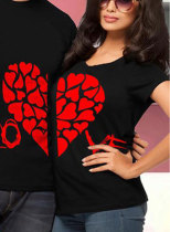 Couple's T-shirts Color Block Heart-shaped Letter Round Neck Short Sleeve Men's And Women's T-shirts