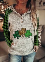 Women's Hoodies Drawstring Color Block Plaid Clover Button Long Sleeve Pocket Hoodies