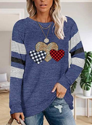 Women's Pullovers Heart-shaped Color Block Long Sleeve Round Neck Casual Pullover