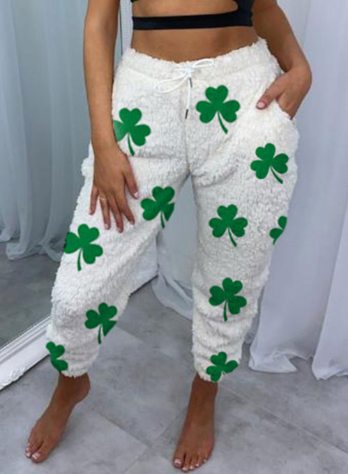 Women's Joggers Clover Saint Patrick's Day Color Block Straight High Waist Full Length Pocket Drawstring Plush Joggers