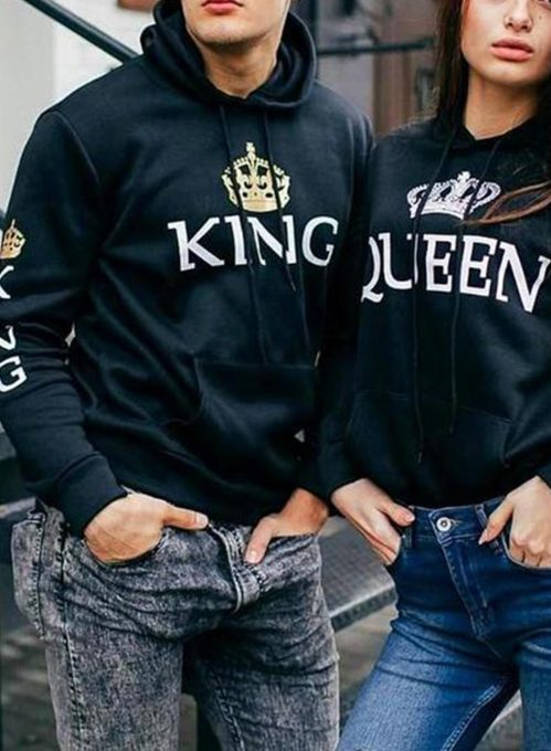 Couple's Hoodies Color Block Pocket Drawstring Gray King & Queen Hoodies