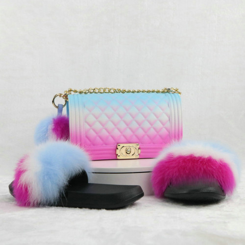 Rainbow Fur Slides with Matching Shoulder Bag Pom Pom Ball Set