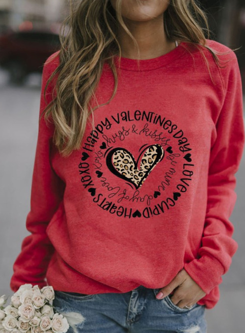 Women's Sweatshirts Heart-shaped Letter Print Long Sleeve Round Neck Sweatshirt
