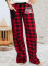 Women's Palazzo Pants Casual Plaid Color Block Mid Waist Straight Full Length Palazzo Pants
