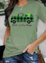 Women's T-shirts Plaid Letter Saint Patrick's Day Short Sleeve Round Neck Casual T-shirt