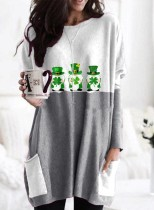 Women's Tunics Letter St. Patrick's Day Color Block Long Sleeve Round Neck Casual Tunic