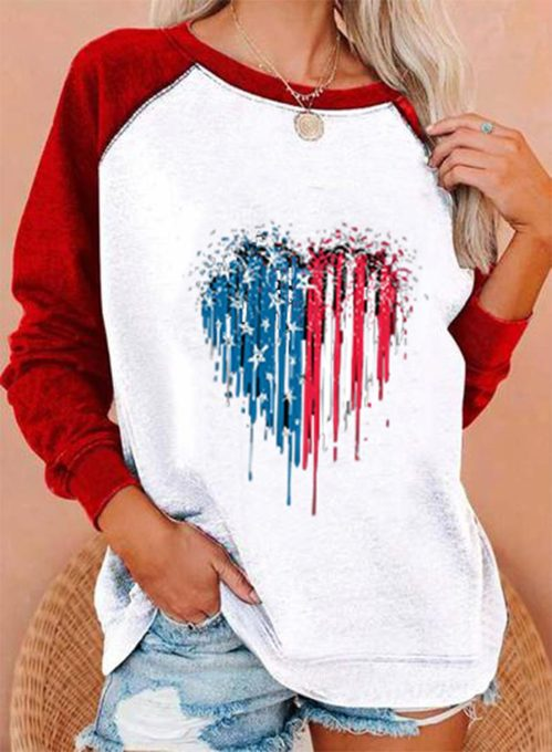 Women's Pullovers Flag Color Block Heart-shaped Long Sleeve Round Neck Daily Casual Basic Pullover