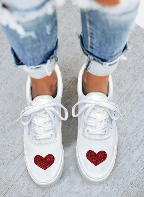 Women's Sneakers PU Leather Solid Love-shaped Casual Sneakers
