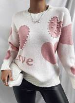 Women's Sweaters Color Block Heart-shaped Round Neck Long Sleeve Knitted Casual Sweater