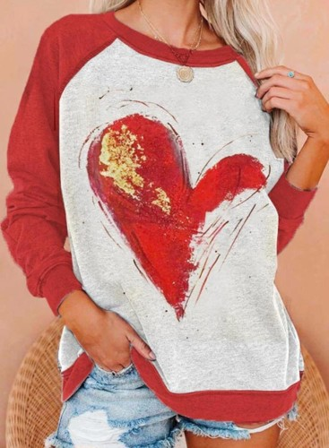 Women's Pullovers Casual Heart-shaped Color Block Long Sleeve Round Neck Pullovers