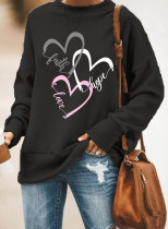 Women's Pullovers Casual Solid Heart-shaped Round Neck Long Sleeve Daily Pullovers