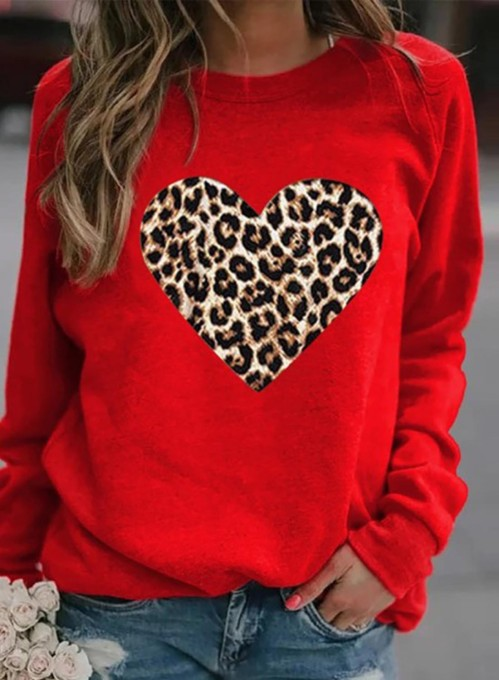 Women's Pullovers Casual Leopard Heart-shaped Color Block Long Sleeve Round Neck Pullovers