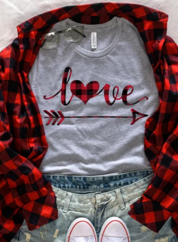 Women's T-shirts Plaid Letter Print Short Sleeve Round Neck T-shirt