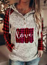 Women's Hoodies Plaid Letter Long Sleeve Casual Button Drawstring Hoodie