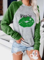 Women's Pullovers Casual Letter Lip Color Block Round Neck Long Sleeve Daily Pullovers