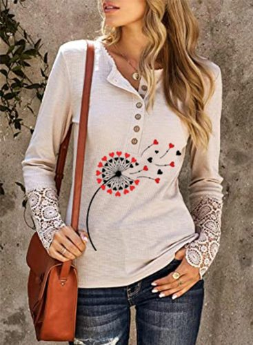 Women's Pullovers Dandelion Button Lace Long Sleeve Round Neck Pullover
