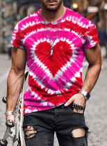 Men's T-shirts Summer Color Block Heart-shaped Round Neck Short Sleeve Daily T-shirts