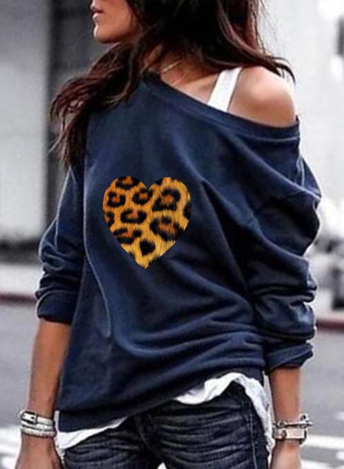 Women's Pullovers Casual Leopard Cold Shoulder Solid Round Neck Long Sleeve Daily Pullovers