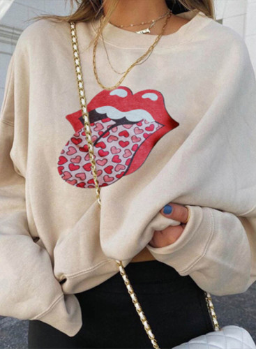 Women's Pullovers Color Block Lip Heart-shaped Round Neck Long Sleeve Casual Pullovers
