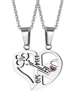 Adult's Necklaces Stainless Steel Love Key Splicing Couple Pendant Necklace
