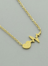 Women's Necklaces Solid ECG Heart-shaped Metal Necklace