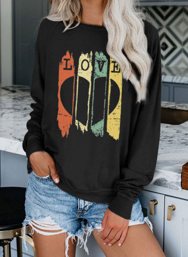 Women's Sweatshirts Letter Color-block Long Sleeve Round Neck Casual Sweatshirt