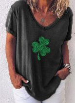 Women's T-shirts Clover St. Patrick's Day Print Short Sleeve V Neck Daily T-shirt
