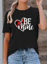 Women's T-shirts Letter Heart-shaped Letter Short Sleeve Round Neck Casual T-shirt