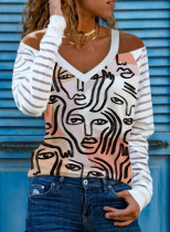 Women's Pullovers Off Shoulder Abstract Color Block V Neck Long Sleeve Casual Sexy Pullovers