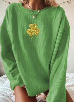 Women's Sweatshirts Saint Patrick's Day Clover Print Sequin Long Sleeve Round Neck Sweatshirt